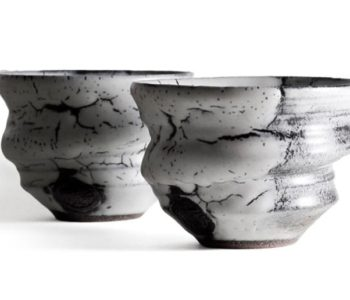 ninshu kyoto hand-made ceramic white flow